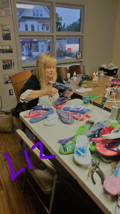 Liz at work on Flip Flop Night