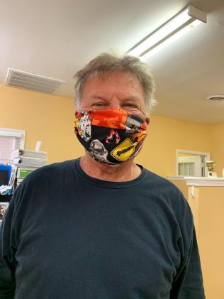 Friend Donald wearing Firemen Mask
